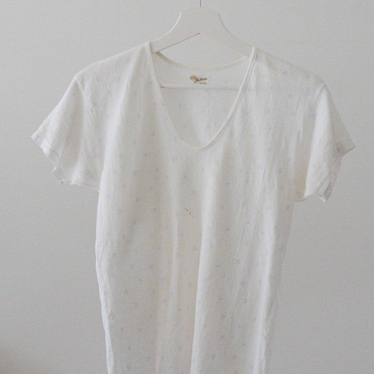 Kasuri T-Shirt Japan Vintage Underwear 60s | 絣 染み込み プリント Tシャツ ジャパンヴィンテージ 60年代
