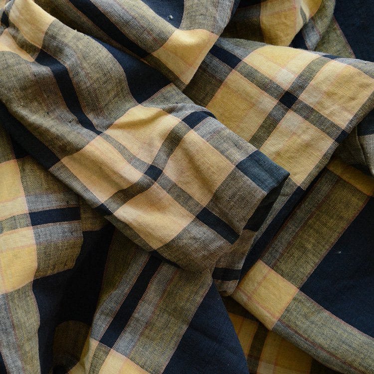 Japanese Fabric Aizome Boro Cotton Check Pattern Vintage | 布団皮 藍染 襤褸布 ジャパンヴィンテージ
