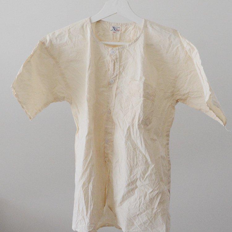 Japan Vintage Shirt No Collar Cotton Nep 50〜60s   ノーカラーシャツ 生成り コットン ジャパンヴィンテージ