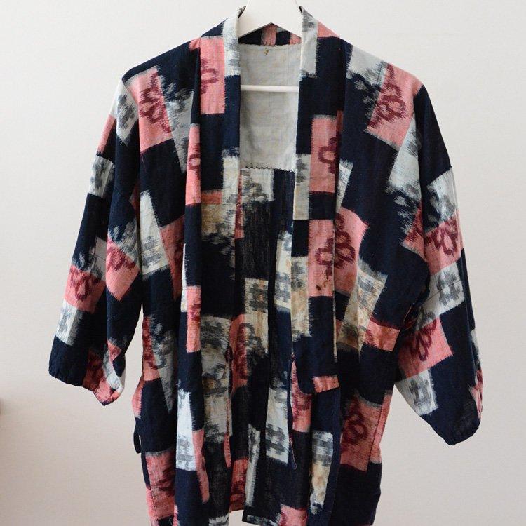 <img class='new_mark_img1' src='https://img.shop-pro.jp/img/new/icons8.gif' style='border:none;display:inline;margin:0px;padding:0px;width:auto;' />Noragi Vintage Indigo Kimono Jacket Kasuri Aizome japan   野良着 藍染 絣 上っ張り ジャパンヴィンテージ