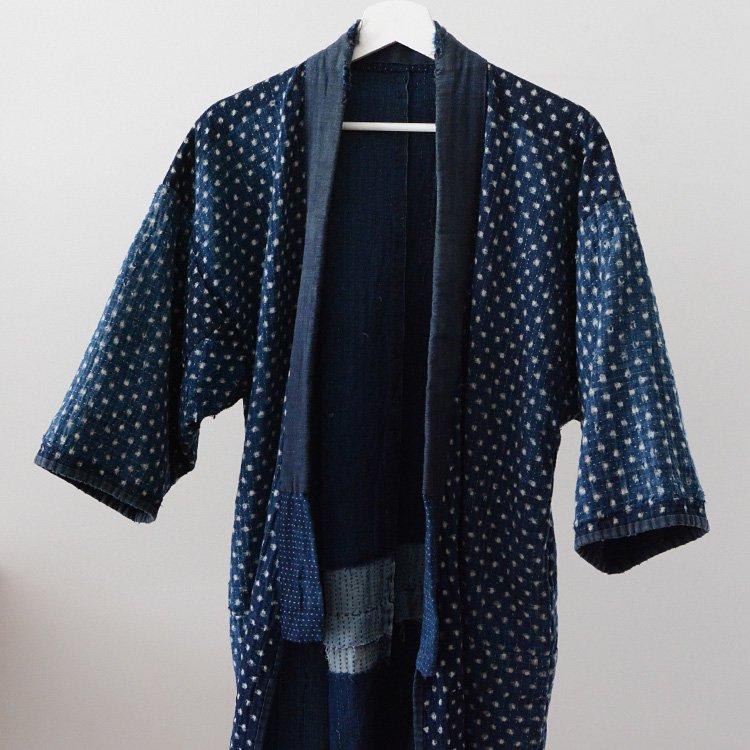 Noragi Vintage Sashiko Boro Indigo Kimono Jacket Kasuri | 野良着 刺し子 藍染 襤褸 雪ん子 絣 ジャパンヴィンテージ 明治 大正