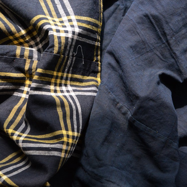 Japanese Cotton Fabric Aizome Indigo Blue Boro Vintage Textiles   古布 藍染 襤褸 布団皮 ジャパンヴィンテージ