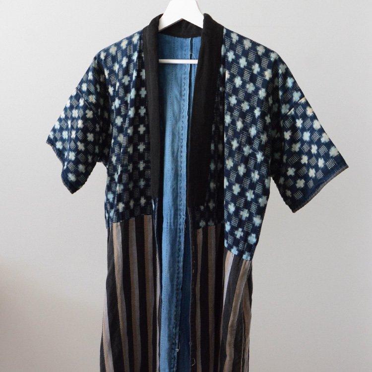 Noragi Vintage Sashiko Aizome Japan Indigo Kasuri Stripe 30s | 野良着 古着 藍染 刺し子 絣 クレイジーパターン ジャパンヴィンテージ