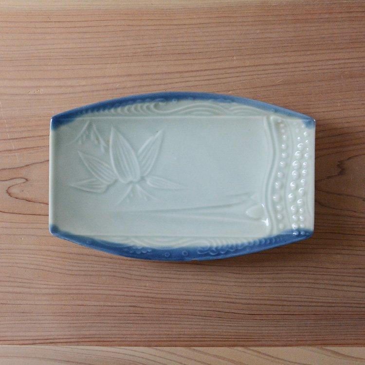 焼物皿 和食器 笹の葉 魚 刺身 骨董 ジャパンヴィンテージ 陶器 | Tableware Japan Vintage
