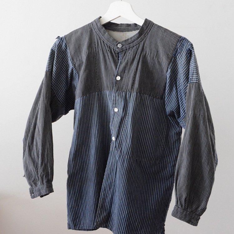 Noragi Shirt Boro Crazy Pattern Stripe Cotton Japan Vintage   野良着 シャツ 襤褸 クレイジーパターン ジャパンヴィンテージ