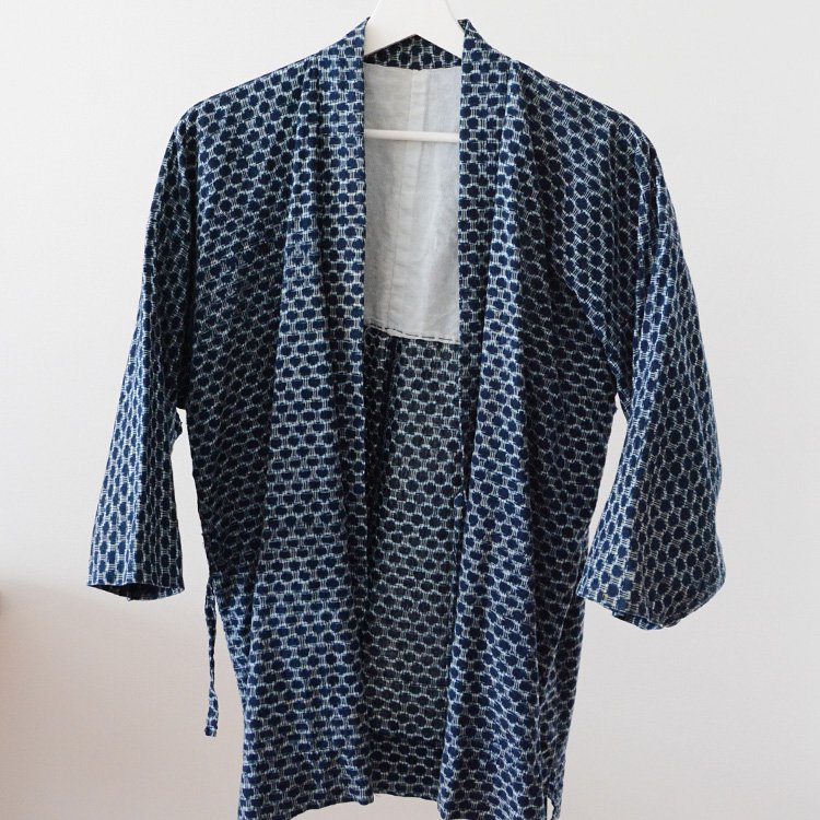 Noragi Jacket Indigo Kimono Kasuri Ikat Japan Vintage 30〜40s | 野良着 藍染 絣 着物 ジャパンヴィンテージ 上っ張り