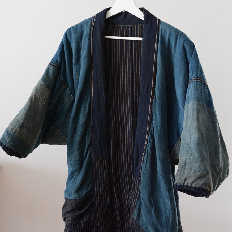 Hanten Jacket Boro Japanese Indigo Kimono Sashiko Aizome 20〜30s Vintage   綿入れ半纏 襤褸 藍染 刺し子 ジャパンヴィンテージ
