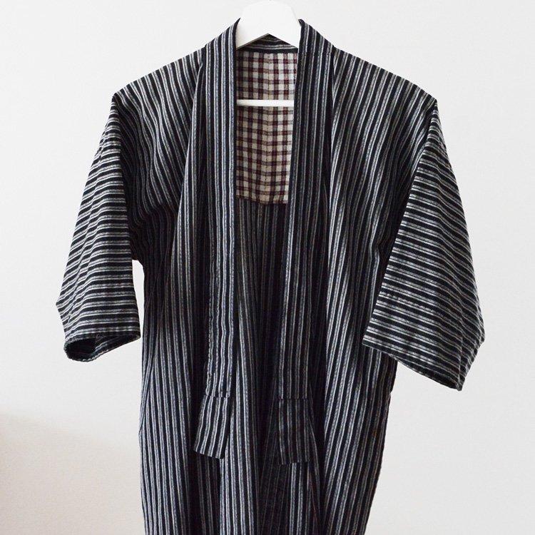 <img class='new_mark_img1' src='https://img.shop-pro.jp/img/new/icons8.gif' style='border:none;display:inline;margin:0px;padding:0px;width:auto;' />Noragi Jacket Black Stripe Cotton Kimono Japan Vintage 40〜50s   野良着 黒縞模様 木綿 着物 ジャパンヴィンテージ 40〜50年代