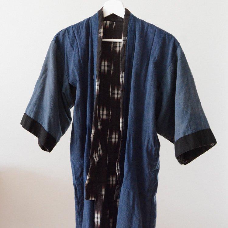 Kasuri Kimono Jacket Japan Vintage Indigo Crazy 30〜40s | 絣 着物 井桁 一部 藍染 クレイジー ジャパンヴィンテージ 30〜40年代