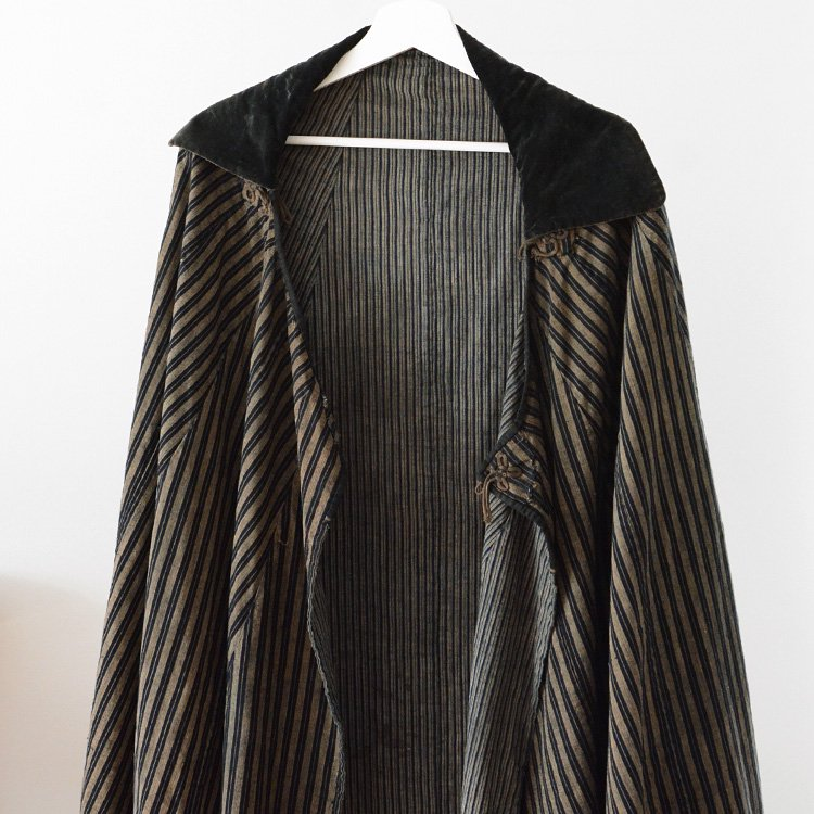 Japan Vintage Indigo Stripe Cape Kappa | 道中合羽 藍染 縞模様 ジャパンヴィンテージ ケープ マント