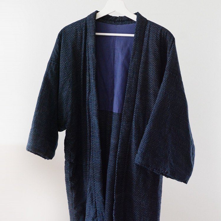 Hanten Jacket Indigo Kimono Kasuri Fabric Japan Vintage 30s   綿入れ半纏 藍染 蚊絣 着物 ジャパンヴィンテージ 30年代