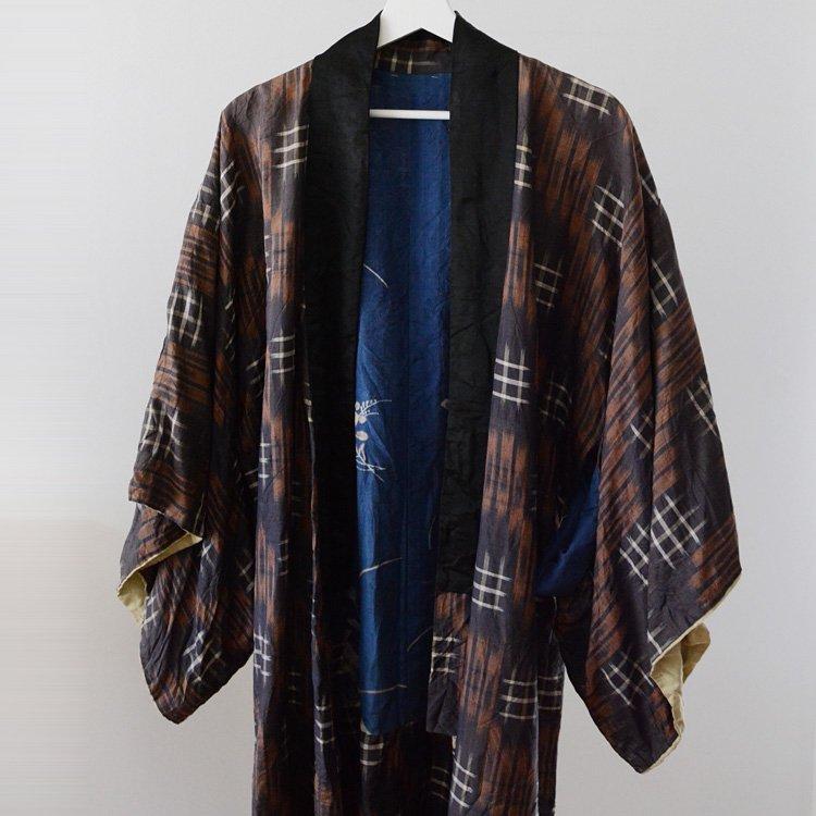 Kimono Robe Japan Vintage Kasuri Flower Boro | 絣 着物 襤褸 裏面 花柄 ジャパンヴィンテージ