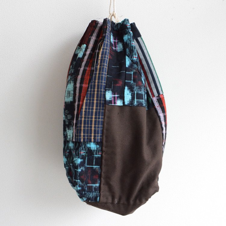 Patchwork Vintage Japanese Fabric Bag Kasuri Indigo Vintage | 米袋 巾着バッグ 藍染 絣 継ぎ接ぎ ジャパンヴィンテージ