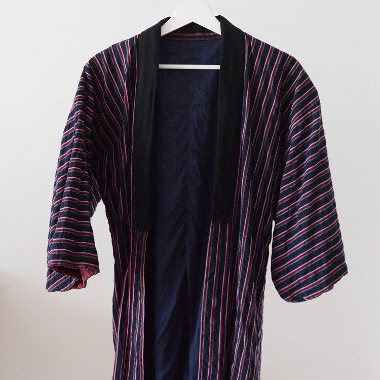 Noragi Jacket Indigo Kimono Japan Vintage 30〜40s   野良着 藍染 縞模様 木綿 着物 ジャパンヴィンテージ