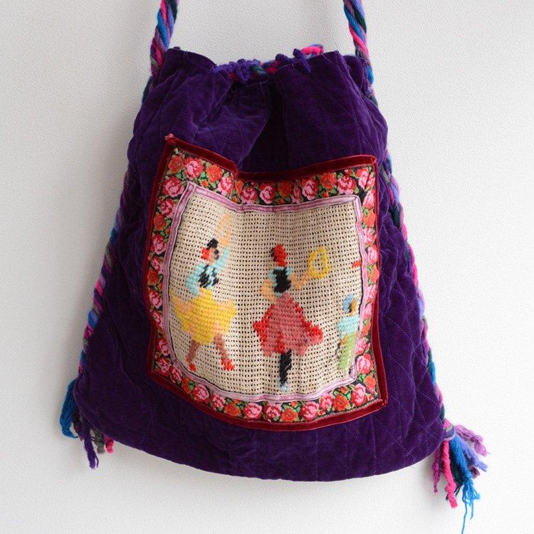 Vintage Velour Shoulder Bag Dancer Embroidery | ヴィンテージ ベロア ショルダーバッグ 踊り子の刺繍