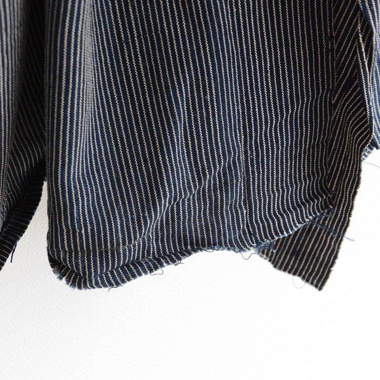 Japanese Fabric Indigo Aizome Stripe Stole Size 30s | 古布 藍染 はぎれ ストライプ 木綿 ジャパンヴィンテージ 2