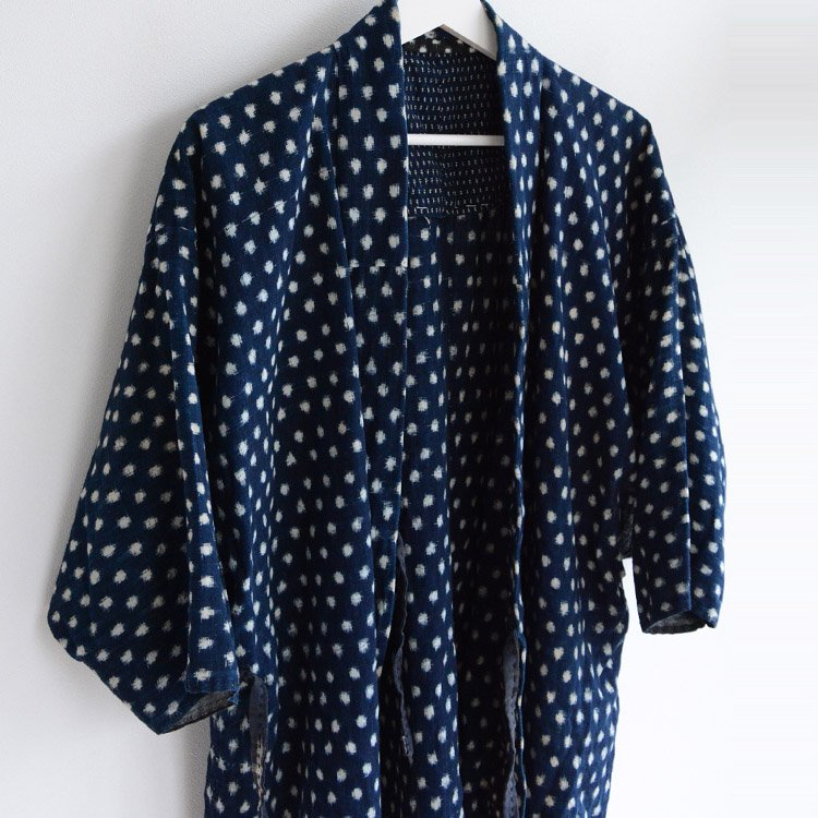 Noragi Jacket Kasuri Fabric Indigo Kimono Aizome Blue | 野良着 藍染 雪 蚊 絣 ジャパンヴィンテージ 上っ張り