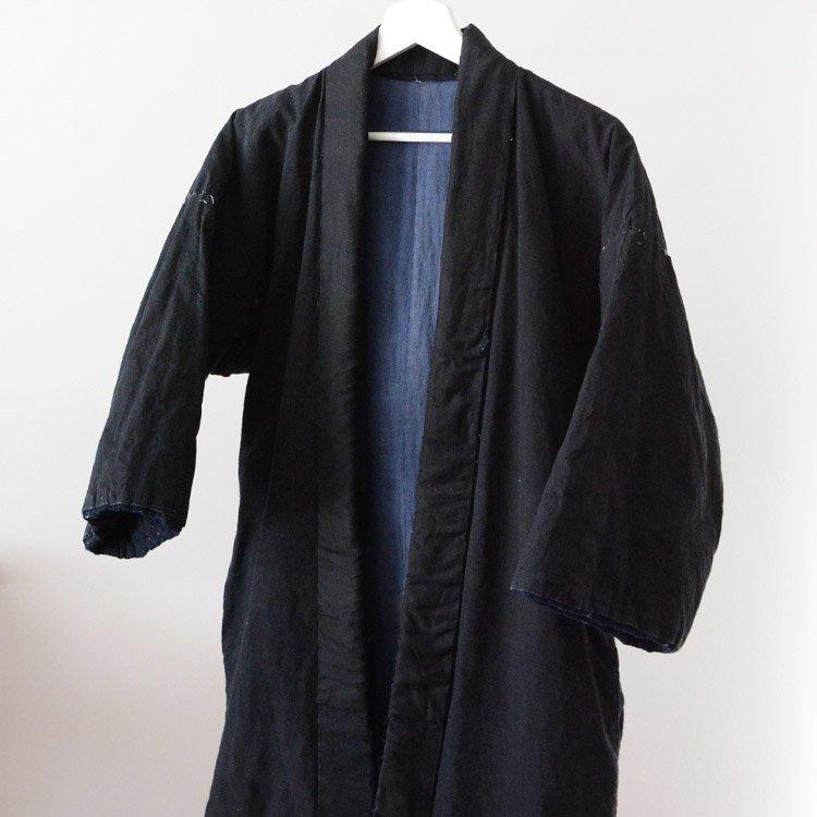 綿入れ半纏 一部藍染 ジャパンヴィンテージ 着物 30年代   Hanten Jacket Padded Winter Japan Vintage Kimono 30s