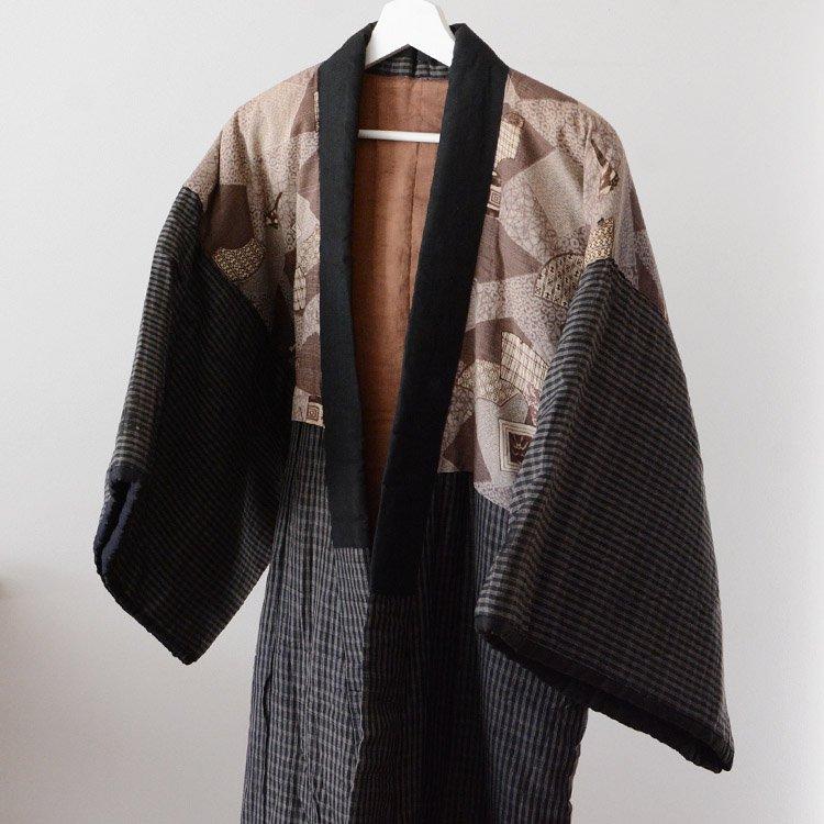 丹前 綿入れ 着物 ジャパンヴィンテージ 成田屋 歌舞伎   Hanten Jacket Padded Winter Kabuki Japan Vintage Kimono
