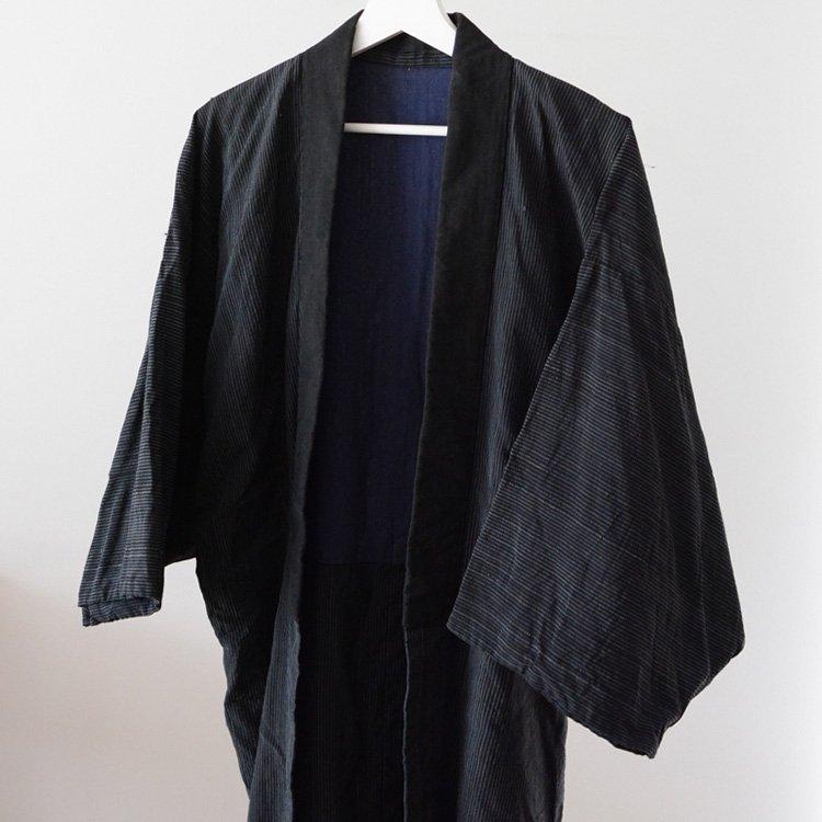 着物 ジャパンヴィンテージ 縞模様 半着 30〜50年代 | Kimono Jacket Men Japan Vintage Dark Stripe 30〜50s