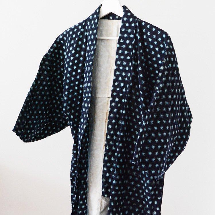 <img class='new_mark_img1' src='https://img.shop-pro.jp/img/new/icons8.gif' style='border:none;display:inline;margin:0px;padding:0px;width:auto;' />野良着 古着 藍染 絣 雪ん子 ジャパンヴィンテージ 着物 | Noragi Jacket Kasuri Fabric Indigo Kimono Japan Vintage