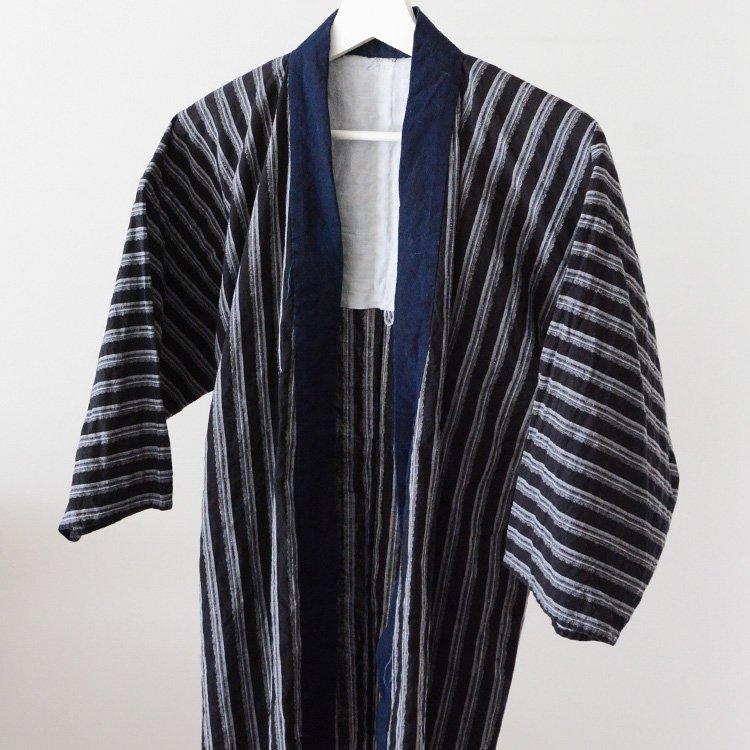 野良着 古着 藍染襟 縞模様 木綿 ジャパンヴィンテージ   Noragi Japan Vintage Indigo Collar Kimono Jacket 30〜40s