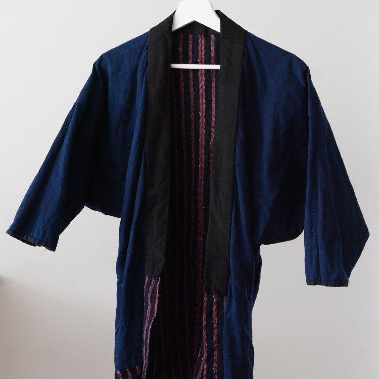 野良着 藍染 縞模様 木綿 着物 ジャパンヴィンテージ | Noragi Jacket Japan Vintage Indigo Kimono Cotton Stripe 30〜40s