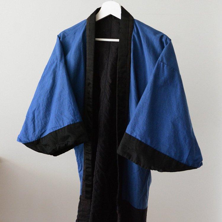<img class='new_mark_img1' src='https://img.shop-pro.jp/img/new/icons8.gif' style='border:none;display:inline;margin:0px;padding:0px;width:auto;' />半着物 縞模様 ジャパンヴィンテージ 裏地 青無地 30〜50年代 | Kimono Jacket Japan Vintage Stripe & Plain 30〜50s