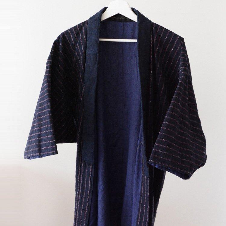 野良着 藍染 襟 縞模様 木綿 ジャパンヴィンテージ 着物 古着   Noragi Jacket Vintage Kimono Japanese Cotton Stripe 30〜40s