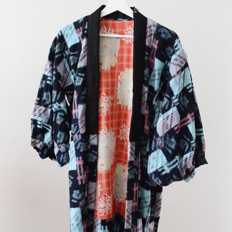 野良着 藍染 絣 井桁 花柄 着物 ジャパンヴィンテージ 古着   Noragi Jacket Indigo Kimono Kasuri Fabric Japan Vintage 40〜50s