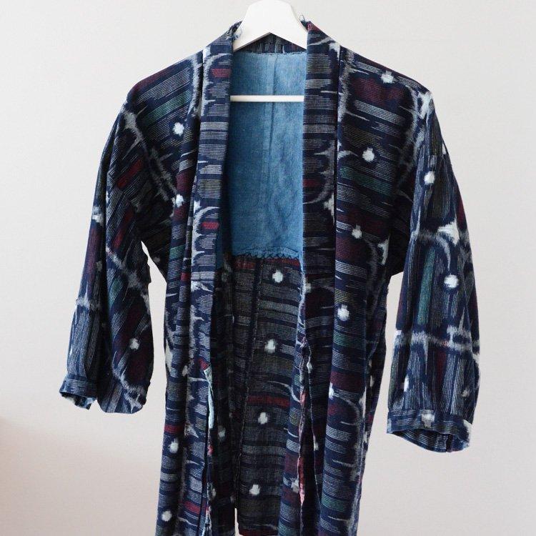 <img class='new_mark_img1' src='https://img.shop-pro.jp/img/new/icons8.gif' style='border:none;display:inline;margin:0px;padding:0px;width:auto;' />野良着 藍染 絣 上っ張り 着物 ジャパンヴィンテージ 古着 | Noragi Jacket Aizome Indigo Kimono Kasuri Fabric Japan Vintage