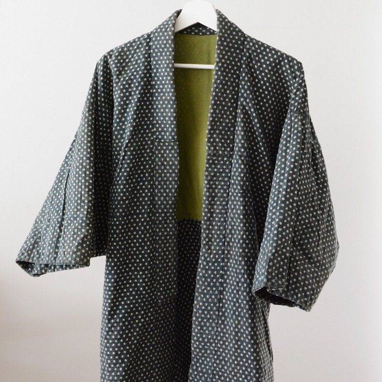 野良着 絣 雪ん子 緑 ジャパンヴィンテージ 着物 木綿 30年代 | Noragi Jacket Kasuri Fabric Green Snow Kimono Japan Vintage 30s