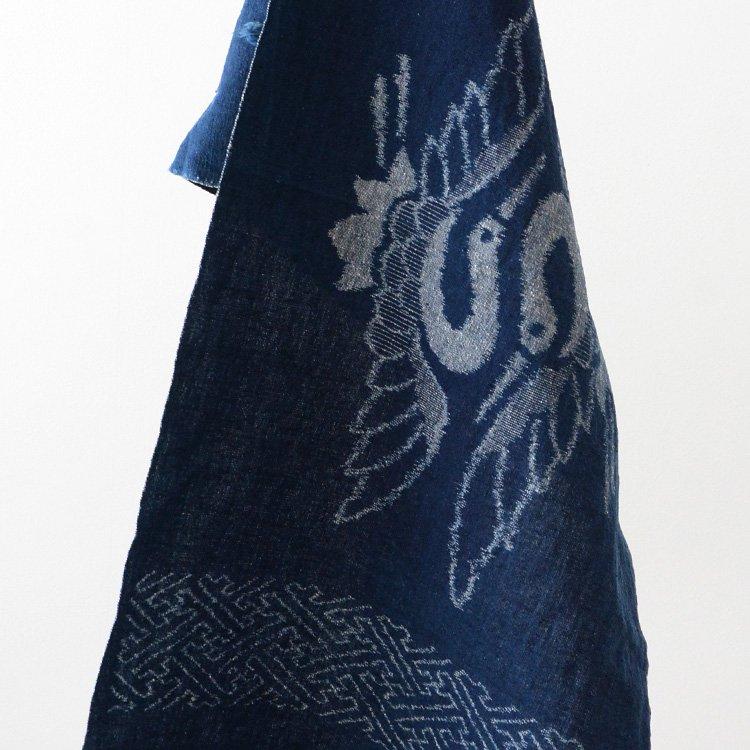 絣 古布 藍染 鶴 卍崩し 木綿 ジャパンヴィンテージ 明治〜昭和初期 | Japanese Fabric Vintage Kasuri Indigo Kofu Old Cloth