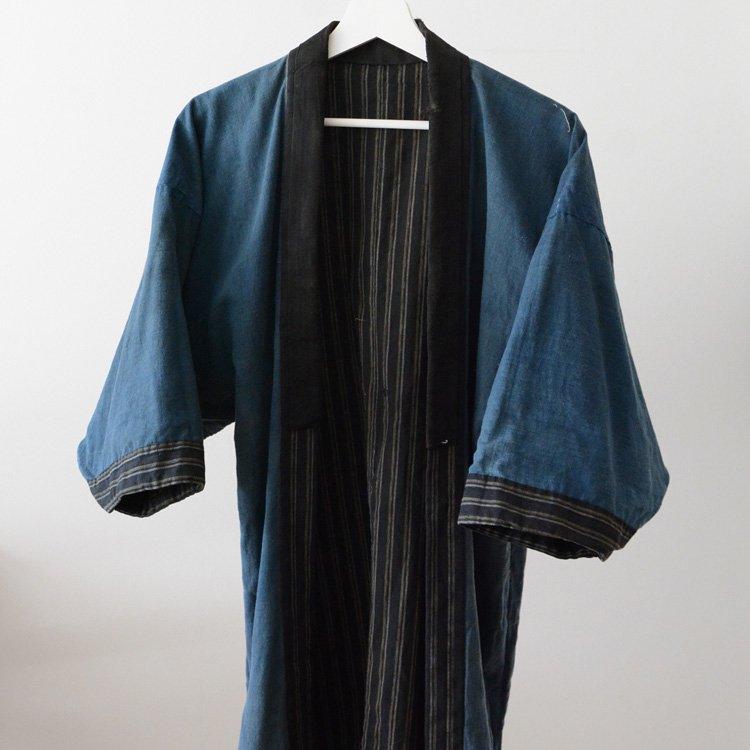 野良着 古着 藍染 黒 縞模様 木綿 ジャパンヴィンテージ 大正〜昭和 | Noragi Jacket Indigo Kimono Black Stripe Cotton Japan Vintage