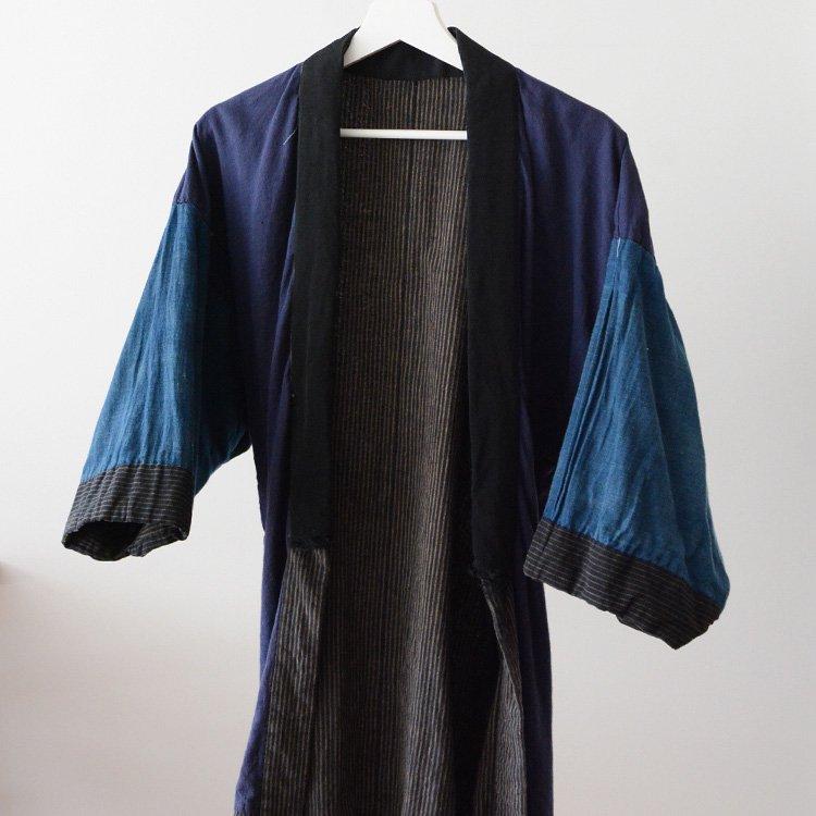 野良着 古着 藍染袖 クレイジーパターン 木綿着物 ジャパンヴィンテージ | Noragi Jacket Indigo Kimono Crazy Pattern Japan Vintage 30s