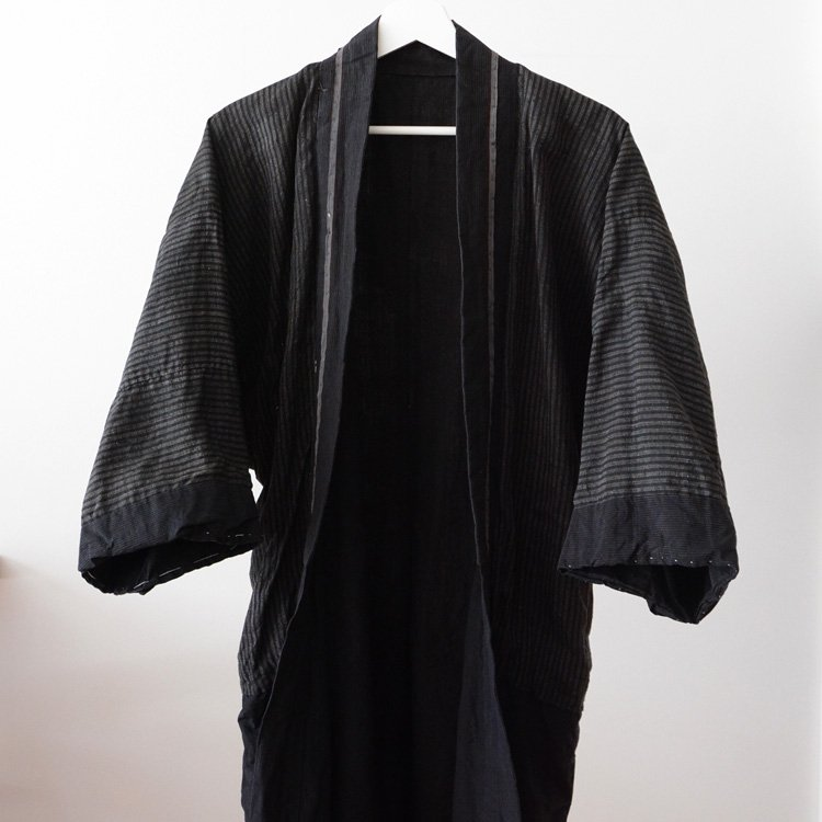 着物 黒 縞模様 襤褸 ジャパンヴィンテージ 半着 | Kimono Jacket Men Japan Vintage Black Stripe 30〜50s