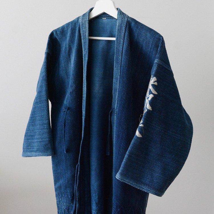 剣道着 藍染 刺し子 ジャパンヴィンテージ 二重 90年代 漢字 刺繍 | Kendo Gi Sashiko Jacket Men Indigo Blue Aizome Japan Vintage
