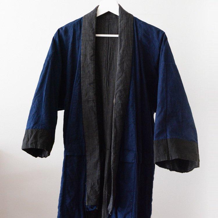 着物 藍染 縞模様 ジャパンヴィンテージ 木綿 長着 30年代   Indigo Kimono Jacket Japan Vintage 30s Cotton Stripe Aizome