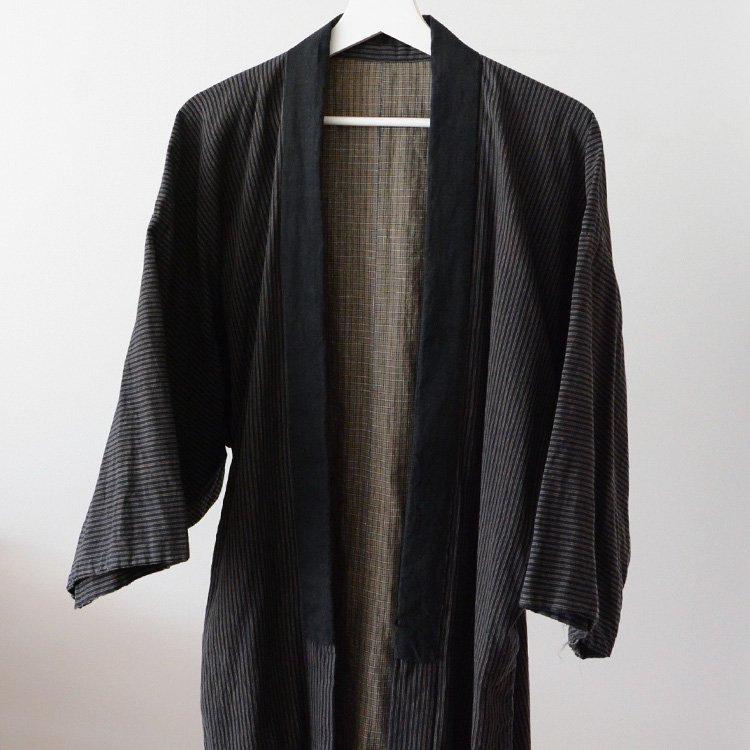 野良着 古着 ジャパンヴィンテージ 日常着 縞模様 裏面 つぎはぎ | Noragi Jacket Men Daily Kimono Japan Vintage Cotton 30s