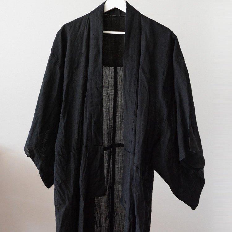 麻 着物 黒 ジャパンヴィンテージ 明治 大正 単衣 | Kimono Vintage Japan Black Hemp Meiji Taisho Era