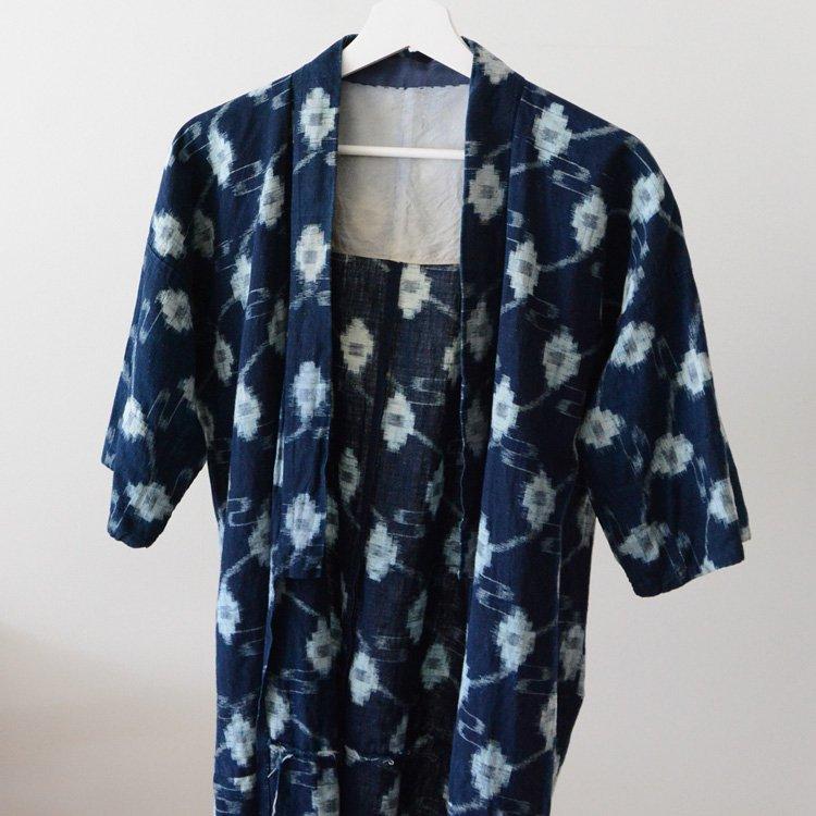野良着 藍染 絣 木綿 ジャパンヴィンテージ 30〜40年代 古着 着物 | Indigo Kimono Jacket Noragi Kasuri Fabric Japan Vintage