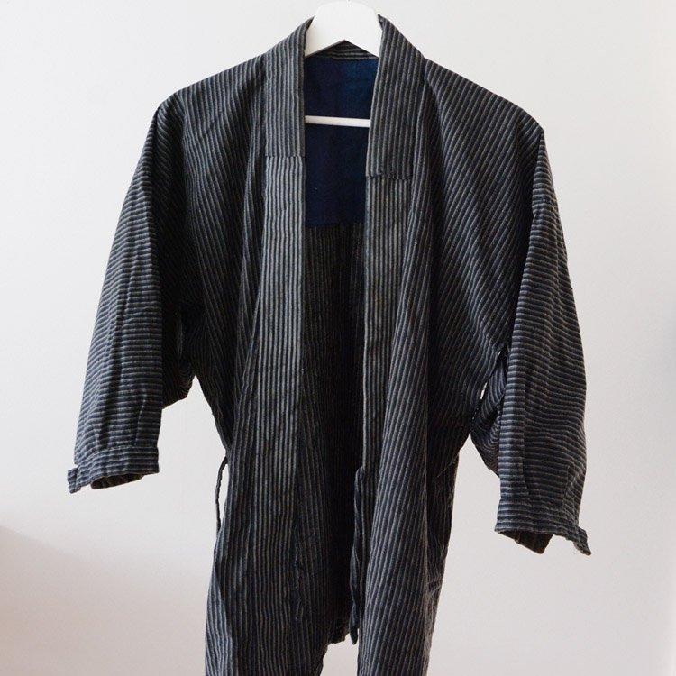 野良着 上っ張り 縞模様 木綿 着物 ジャパンヴィンテージ 30〜40年代   Noragi Jacket Japan Vintage Cotton Stripe Kimono 30〜40s