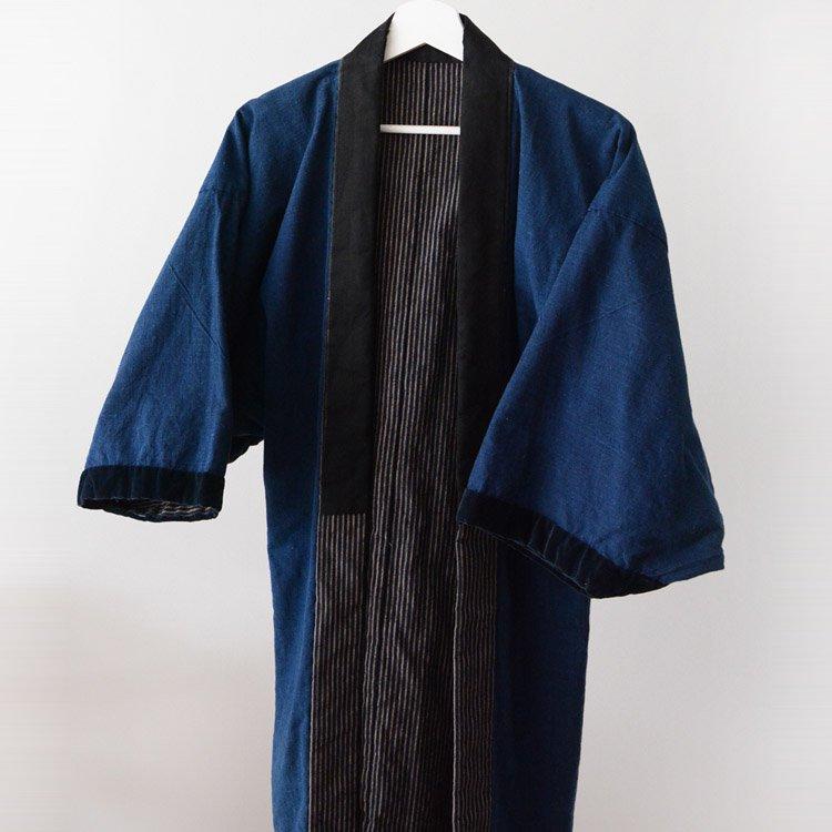 <img class='new_mark_img1' src='https://img.shop-pro.jp/img/new/icons8.gif' style='border:none;display:inline;margin:0px;padding:0px;width:auto;' />野良着 藍染 古着 木綿 縞模様 ジャパンヴィンテージ 30年代 着物   Noragi Men Indigo Kimono Jacket Japan Vintage Cotton 30s