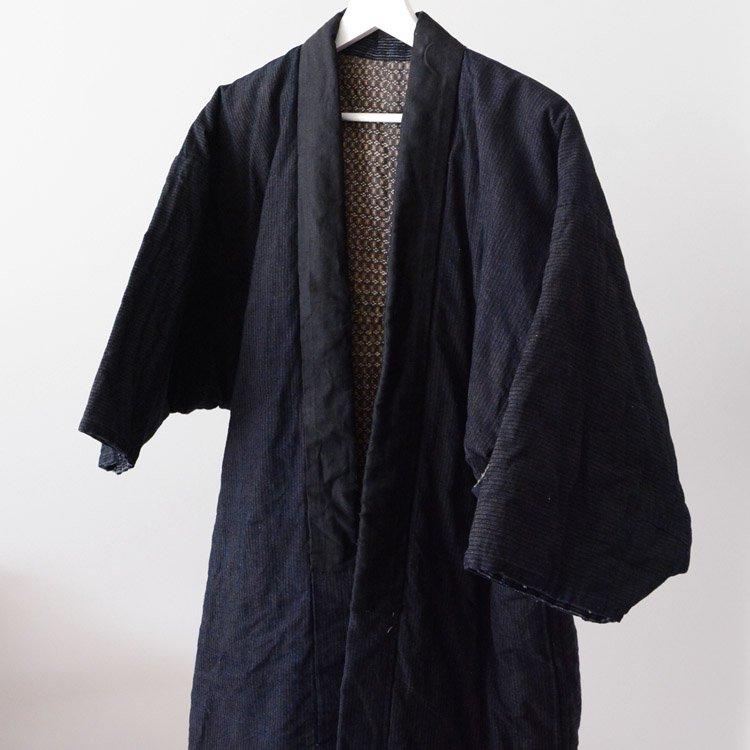 綿入れ半纏 藍染 襤褸 着物 ジャパンヴィンテージ 大正〜昭和   Hanten Padded Warm Kimono Jacket Indigo Stripe Boro Japan Vintage