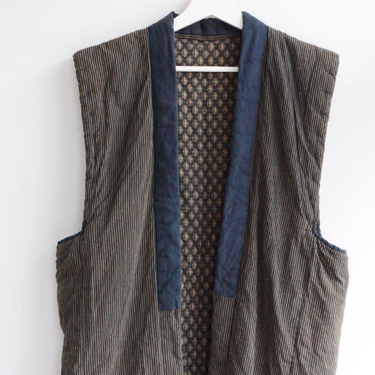 袖無し半纏 つぎはぎ 一部藍染 ジャパンヴィンテージ 大正〜昭和 | Kimono Vest Crazy Patchwork Indigo Kasuri Japan Vintage
