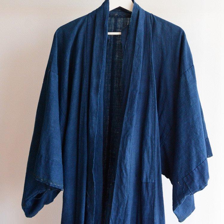 藍染 着物 裏地 古布 ジャパンヴィンテージ 木綿 明治〜大正 | Indigo Kimono Robe Cotton Aizome Japan Vintage Coat Length