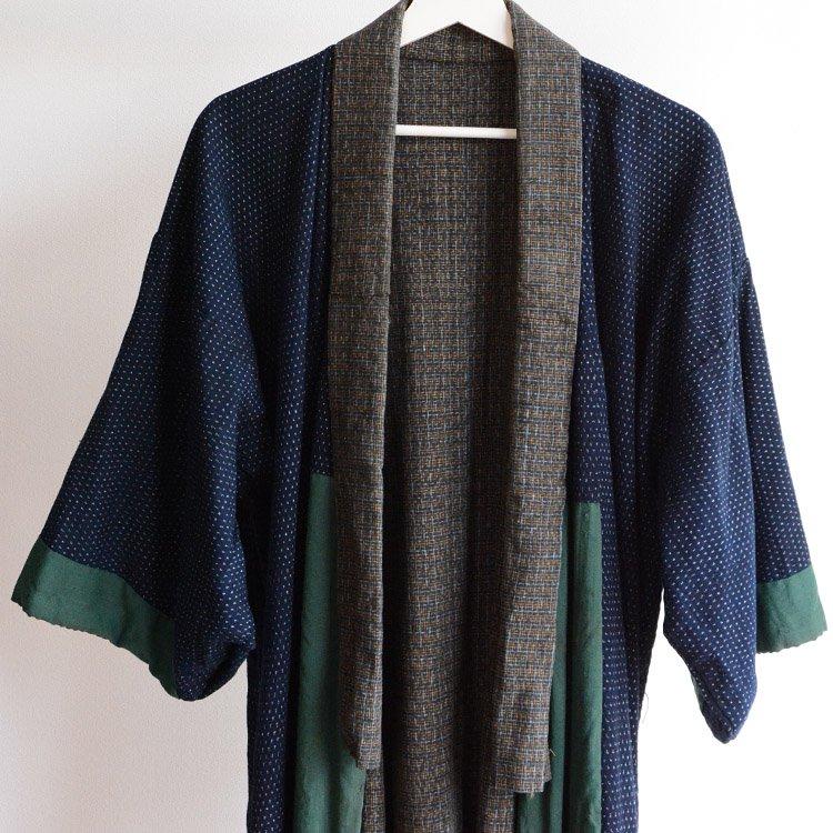 蚊絣 着物 藍染 クレイジーパターン ジャパンヴィンテージ 大正 | Indigo Kimono Coat Kasuri Fabric Japan Vintage Crazy Pattern
