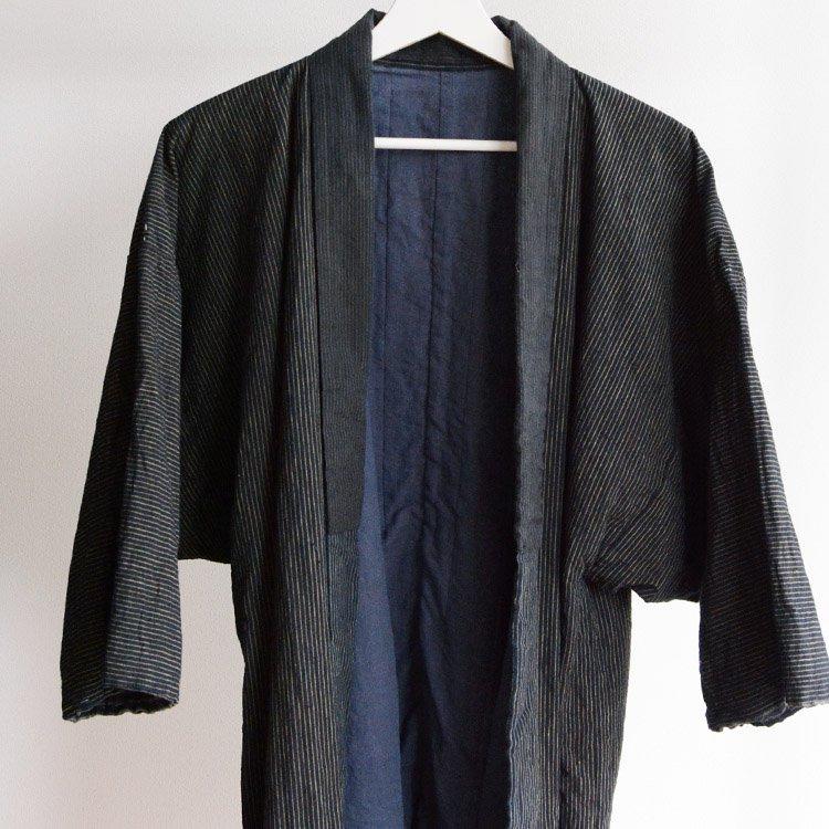 <img class='new_mark_img1' src='https://img.shop-pro.jp/img/new/icons8.gif' style='border:none;display:inline;margin:0px;padding:0px;width:auto;' />野良着 藍染 縞模様 クレイジーパターン ジャパンヴィンテージ 古着 | Noragi Jacket Men Indigo Kimono Japan Vintage Crazy Pattern