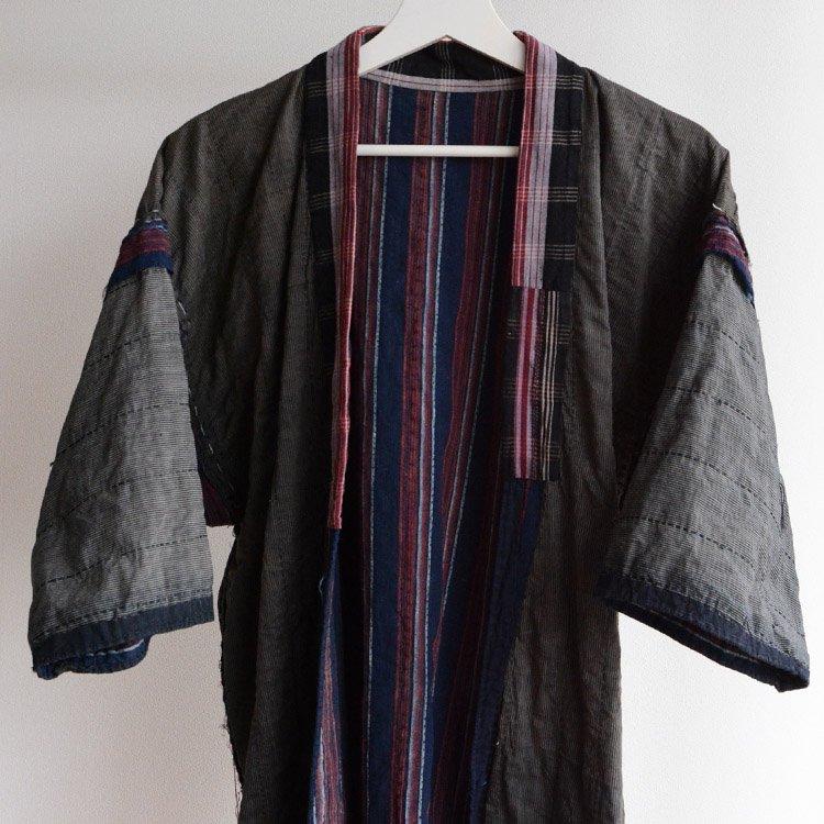 野良着 刺し子 藍染 つぎはぎ 縞模様 ジャパンヴィンテージ 明治 大正 | Noragi Jacket Sashiko Fabric Indigo Kimono Crazy Patchwork