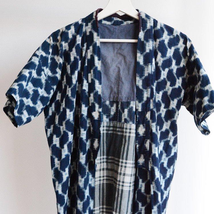野良着 藍染 絣 木綿 着物 ジャパンヴィンテージ 20〜30年代 | Noragi Jacket Indigo Kasuri Fabric Cotton Japan Vintage 20〜30s
